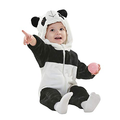 Unisex Baby Romper Winter and Autumn Flannel Jumpsuit Animal Cosplay Outfits(Panda,90cm-(13-18months))