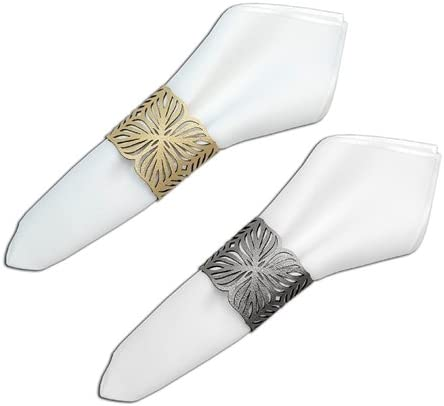Napkin Ring Set of 4 - Max 79% OFF SIDED Dove DOUBLE Grey Gold NEW before selling Metallic
