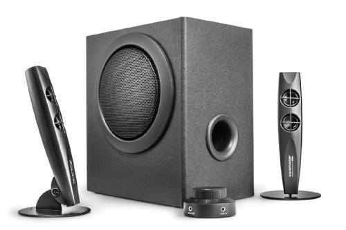 Wavemaster STAX 2.1 Lautsprecher System (46 Watt) Aktiv-Boxen für TV/Tablet/Smartphone/PC schwarz (66201)