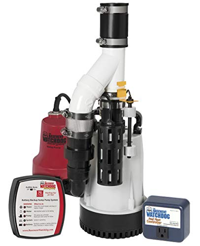THE BASEMENT WATCHDOG Model DFK961 1/3 HP Combination Submersible Sump Pump with Cast Iron / Cast Aluminum Primary Sump Pump and a 24 Hour a Day Monitoring Emergency Battery Backup Sump Pump System
