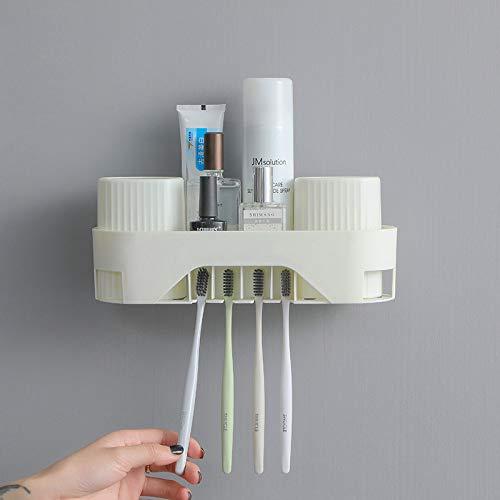 Huishouden Plain dubbele kop, tandenborstelhouder, sterke muur, hangen, multifunctionele badkamer, wassen tandpasta tandenborstel, opslagrek