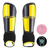 CybGene Schienbeinschoner Fußball für Kinder Herren mit Knöchelschutz Entworfen Schienbeinschützer für Kind Jugend Erwachsene Fußballausrüstung Verstellbare Gurte Gelb XS