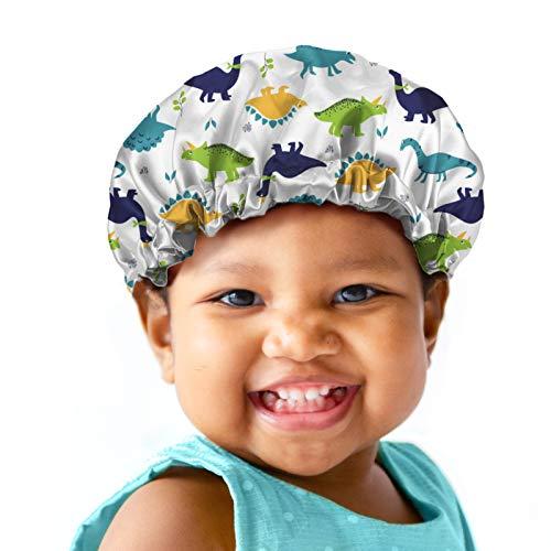 Babrukda Kids Hair Cover, Children Satin Bonnet, Boys Girls Satin Sleep Cap, Adjustable Elastic Band Beanie Hat for Night Sleeping Easy Clean Headwear for Toddler Baby Dinosaur