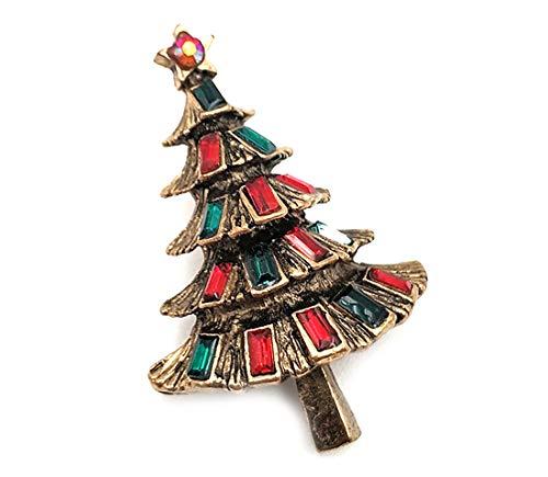 generisch Broschen für Kleidung Weihnachtsbaum Design Broschennadeln für Dame Frauen Schmuck Geschenk Vintagegold Metall Glänzend Kristall