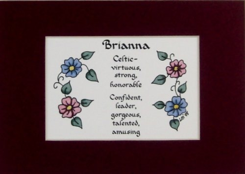 McDarlins Calligraphy Personalized Name Meaning Brianna Wall Picture Keepsake Gift Made in The USA