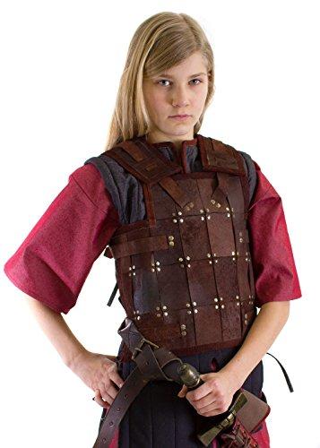Epic Armoury Einfache LARP Kinder Lederrüstung Kinderrüstung Schwarz oder Braun Größe S-XL Mittelalter Schaukampf Wikinger (M, Braun)
