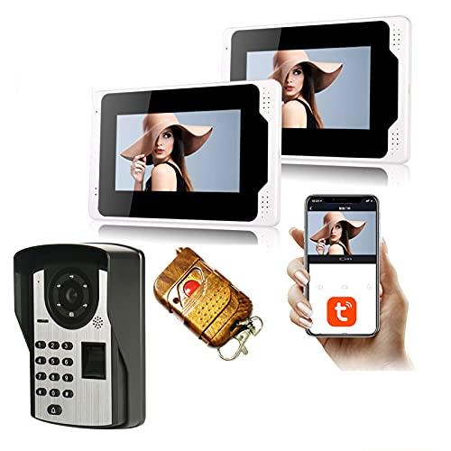 Tuya Timbre con video WiFi, intercomunicador, contraseña de huella digital, videoportero de seguridad para el hogar, teléfono, monitor de 7 pulgadas + cámara de visión nocturna 1080P,1+2