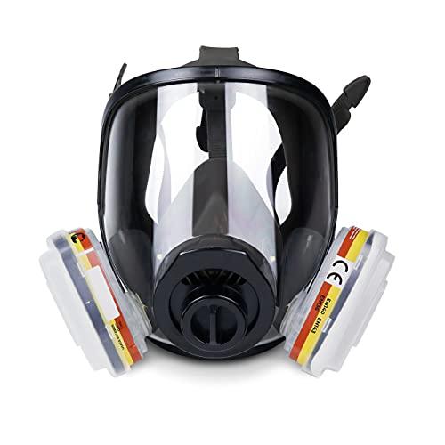 Máscara de Gas Completa Respirador RHINO RH-7011 Reutilizable para Vapores Orgánicos, Gases Ácidos, Fumigar, Pintura | Proteccion Facial con 10 Filtros de Recambio, Gafas de Protección y Guantes