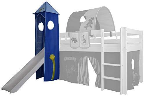 XXL Discount Turm-Vorhang 100% Baumwolle für Hochbett Spielbett Stockbett Kinderbett Kinderzimmer Spielturm mit Turmgestell (Hell Blau/Dunkel Blau, Dino)