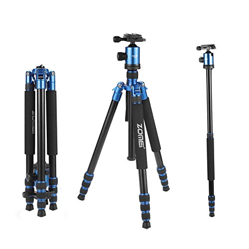 ZOMEi Tall Tripod,Camera Tripod for DSLR, Z818 Tripods for Cameras 65'' Aluminium Alloy Monopod with 360 Panorama Ball Head Quick Release Plate Ball for DSLR Canon Sony Nikon Cameras(Blue)