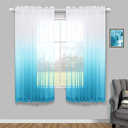 Blue Curtains 63 Inch Length for Boys Room 2 Panels Rod Pocket Semi Voile Ombre Sheer Short Window Curtains for Boys Bedroom 52x63 Inches Long