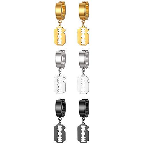 JewelryWe Schmuck 3 Paare Herren Ohrringe Edelstahl Creolen mit Rasierklinge Anhänger Trendy Punk Ohrstecker Ohrhänger Piercing, Schwarz Gold Silber