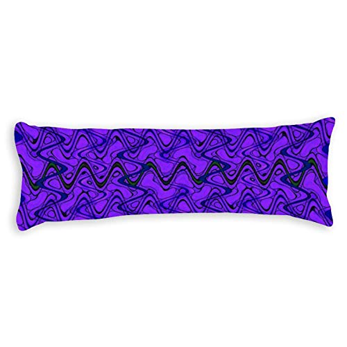 Purple and Black Geometric Wave Body Pillow Cover Pillowcases Cushion with Hidden Zipper Closure for Sofa Bench Bed Home Decor 20'x54'