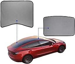 Tesla Model 3 Glass Roof Mesh Sunshade/Overhead Roof Sunshade Auto Sunshade, Custom-Fit Roof Window Sunshades Compatible Tesla Model for Tesla 3 (2 of Set) (2 of Set, Black)