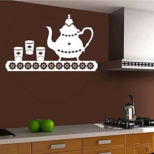 Etiqueta engomada de la pared de vinilo gourmet etiqueta de la pared tetera mural azulejo arte de la pared papel pintado de la cocina decoración del hogar etiqueta de fondo A8 55x90cm