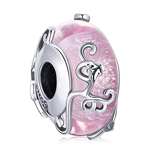 ZiFouDou Abalorio de Plata de Ley 925 para Pulsera Pandora Dijes Originales Charm Cristal- Cuenta Esmaltada Brillante