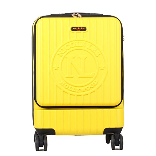 Nicole Lee Women's Carry On [Yellow] Hard Shell Travel Luggage, Laptop Compartment Rolling Wheels