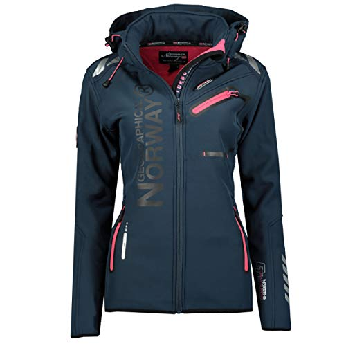 Geographical Norway RÊVEUSE Lady - Softshell-Jacke Für Damen Outdoor -Funktionsjacke Winddicht Winterjacke Kapuze - Softshelljacke Mantel Winter Warme Ideal Aktivitäten Blau/Rosa 2XL - Größe 5