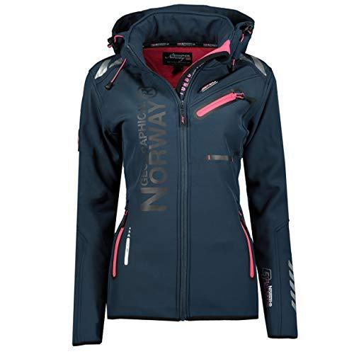 Geographical Norway REVEUSE LADY - Chaqueta Softshell Impermeable Mujer - Capucha Exteriores - Jacket Resistente Cortavientos Invierno - Senderismo Actividades Aire Libre Azul / Rosa S - Talla 1