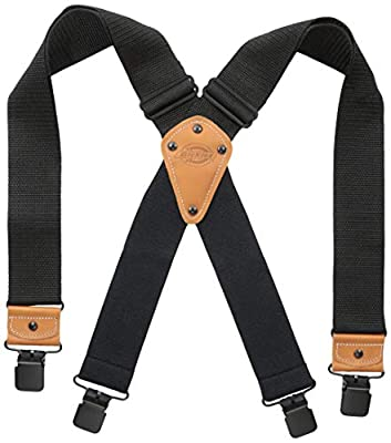 Dickies Industrial Strength Suspenders - Men's Wide Adjustable Thick Strap Clips for Work Heavy Duty Pants, Black, Extended Size