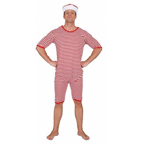Badeanzug rot-weiß gestreift geringelt Gr. L