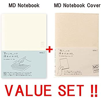 Midori MD Notebook - A5 Grid Paper (15003006) + MDnotebook jacket A5 -light and stout paper-(49841006) -VALUE SET !!