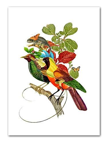 Wuzhaodi poster abstracte dier plant illustratie landschap Scandinavische poster en druk wand kunstdruk canvas schilderij afbeelding 80X100CM D