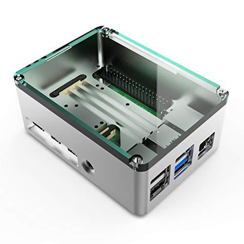 anidees Aluminium Kühlkörper Pi Case Gehäuse mit Silikon Wärmeleitpad für Raspberry Pi 4 Modell B,Silber (AI-PI4-SG-PRO)