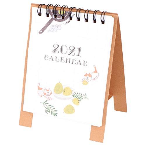 TINKSKY 2021年 卓上カレンダー かわいい ミニカレンダー メモを書き込みやすい 携帯便利 家庭用 事務室用 ギフト