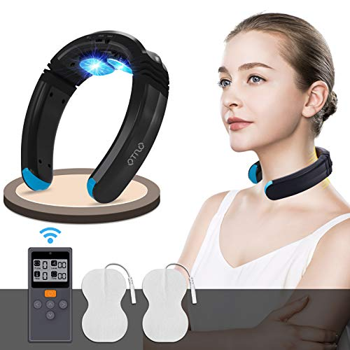 Neck Massager with Heat (FDA-Cleared)Intelligent Electric Pulse EMS TENS Massager Portable Cordless Heated Deep Tissue Trigger Point with Remote Control, Relax Therapy Pain Relief Travel Home Office