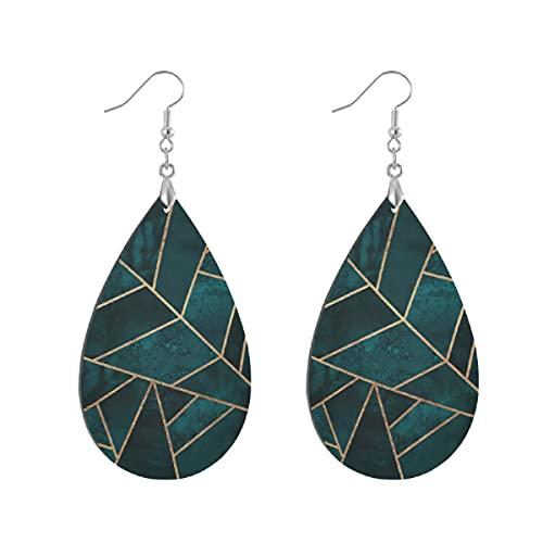 Pendientes de madera de moda gota colgantes ligeros lágrima pendientes forma gota pendiente para las mujeres joyería abstracto naturaleza esmeralda verde