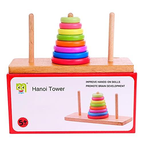 Edcqaz Anillo De Madera Intelectual Para La Torre De Hanoi Juguete No Tóxico Para Niños 2 3 4 Años