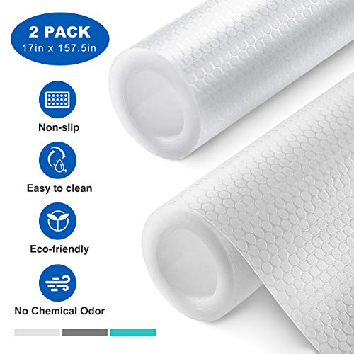 Homemaxs Shelf Liner 2 Rolls, Non-Adhesive Drawer Liner, Versatile Kitchen Cabinet Liners, 17 In x 78.7In x 2 Rolls, Non-Slip Liners for Drawers, Shelves, Cabinets, Refrigerator and Desks, Transparent