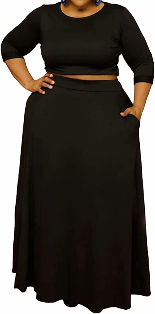 Womens Plus Size 2 Piece Dress Outfits Half Sleeve Crop Tops and Empire Slit Skirt Sets