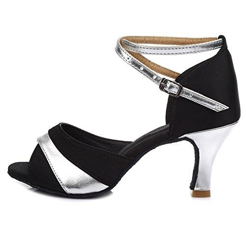 HROYL Zapatos de Baile Latino Mujer Satén Salón de Baile 806 Plateado 40 EU