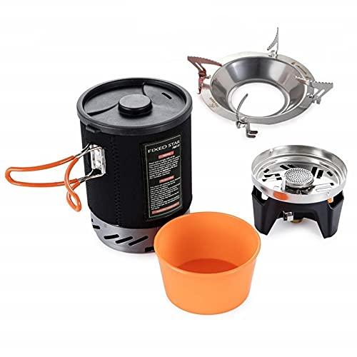 Estufas de camping Senderismo al aire libre Sistema de cocina con estufa intercambiador de calor Pot Bowl Portable Gas quemadores