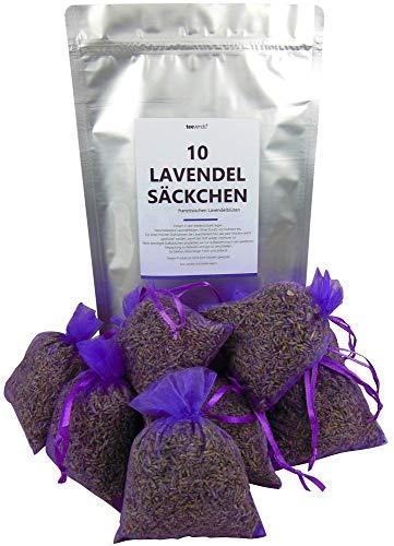 teevendo 10 Duftsäckchen Lavendelsäckchen gefüllt mit je 10g französischen Lavendelblüten im Organzasäckchen (insgesamt 100g) für den Kleiderschrank Mottenschutz