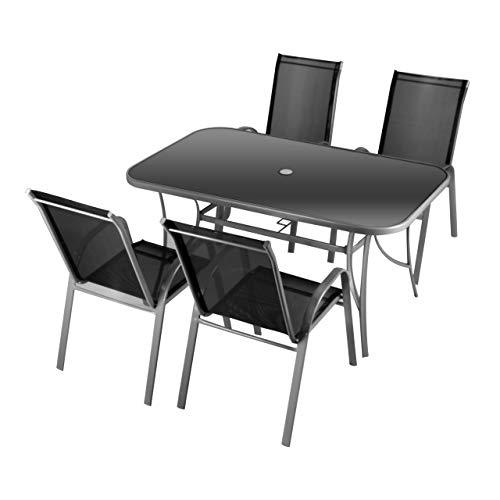 Nexos 5-teiliges Gartenmöbel-Set – Gartengarnitur Sitzgruppe Sitzgarnitur aus Stapelstühlen & Esstisch – Aluminium Kunststoff Glas – schwarz grau
