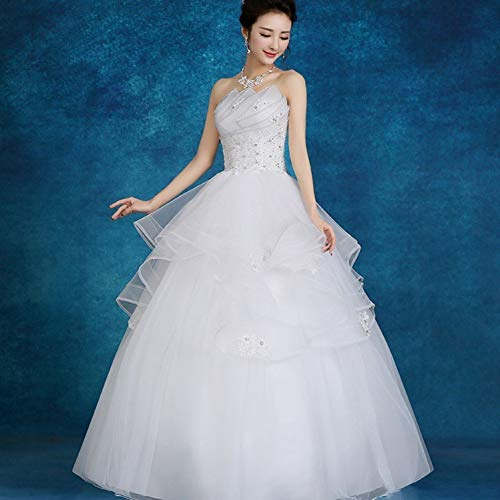 BGGYF Hochzeitskleid Schnüren Sie Brautkleid Mode Trägerloses Ballkleid Perlen Kristall Tiered Elegante Brautkleider Aushöhlen Applikationen
