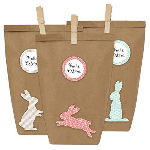 Papierdrachen 12 DIY Geschenktüten zu Ostern zum Basteln - Kreatives Osternest mit 12 Papiertüten und Osterhasen Aufklebern - Design 4