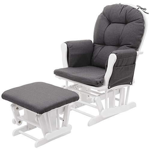 Mendler Relaxsessel HWC-C76, Schaukelstuhl Sessel Schwingstuhl mit Hocker - Stoff/Textil, dunkelgrau, Gestell weiß