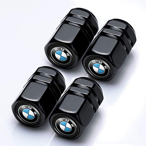 Car Wheel Tire Valve Stem Caps Logo Personality Modification Valve Cap Modeling Accessories Suit for BMW X1 X2 X3 X4 X5 X6 X7 Z4 M i3 i8 2 3 4 5 6 7 8 Vehicles (4PCS Black)
