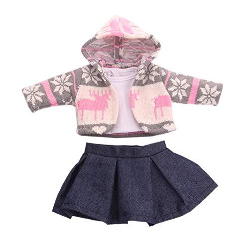 DUORUI Vestiti Bambola Vestito Inverno Vestito Maglia Giacca Gonna per Bambola Americana Bambola 45,7 cm Renna Fiocco di Neve