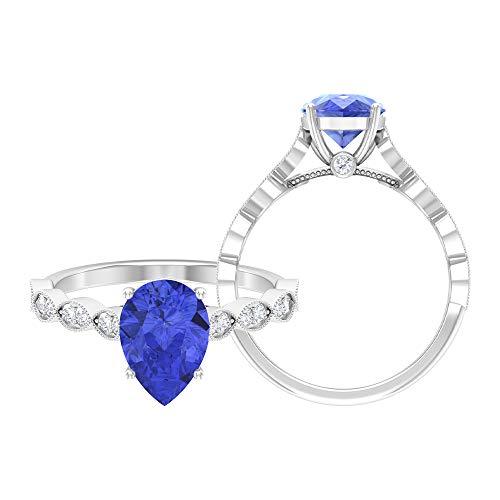 Anillo solitario de tanzanita con corte de pera, 7 x 10 mm, anillo de piedra lateral de moissanita D-VSSI, anillo de compromiso de oro (calidad AAA), 14K Oro blanco, tanzanita, Size:EU 66