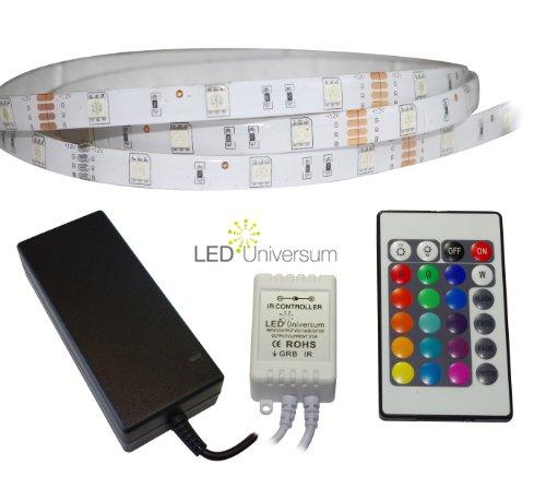 Preisvergleich Produktbild 3 Meter RGB LED Streifen Set (30 LED / m,  IP65) inkl. Controller,  24 Tasten Fernbedienung und 3 A Netzteil