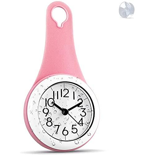CandyT Reloj de Pared de tamaño Compacto para Cocina y baño, Resistente al Agua, silencioso, para Colgar en la Ducha, decoración, Relojes de Pared con ventosas, decoración del hogar (Rosa)