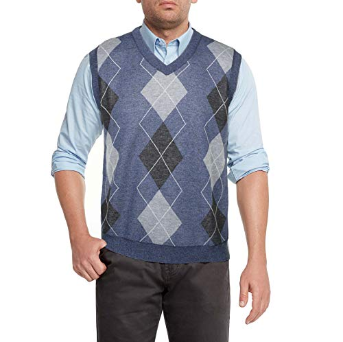 True Rock Men's Argyle V-Neck Sweater Vest (Blue/Grey/Blk, Large)