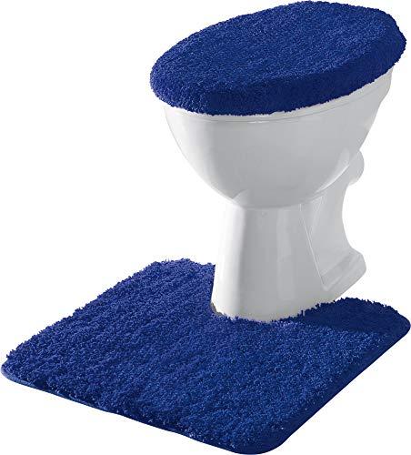 Erwin Müller Stand-WC-Set 2-TLG. Uni, WC-Umrandung, WC-Deckelbezug rutschhemmend Royalblau - ultraweich, extrem saugfähig, flusenarm (weitere Farben)