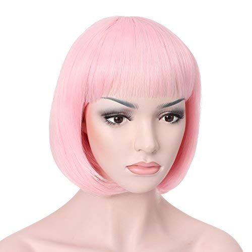 """OneDor 10"""" Short Straight Hair Flapper Cosplay Costume Bob Wig (T1911 - Light Pink)"""