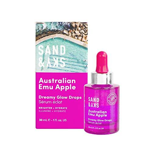 Sand & Sky Dreamy Glow Drops - Serum faciales bifásico con serum facial vitamina c y ácido hialurónico - Vitamina C natural de Manzana emú australiana